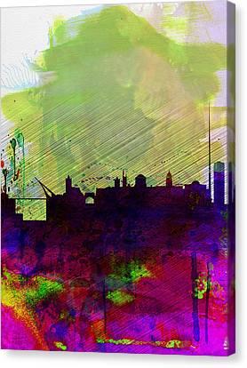 Dublin Watercolor Skyline Canvas Print by Naxart Studio