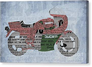 Ducati 900 1983 - Old Newspaper Canvas Print by Pablo Franchi
