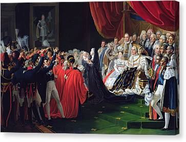 Duchess Of Berry Presenting The Duke Of Bordeaux To The People And The Army Canvas Print by Charles Nicolas Raphael Lafond