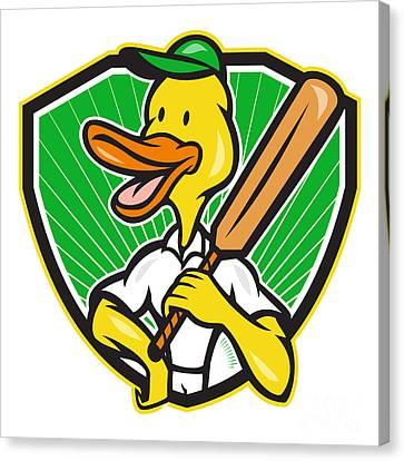 Duck Cricket Player Batsman Cartoon Canvas Print by Aloysius Patrimonio