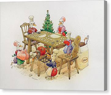 Ducks Christmas Canvas Print by Kestutis Kasparavicius