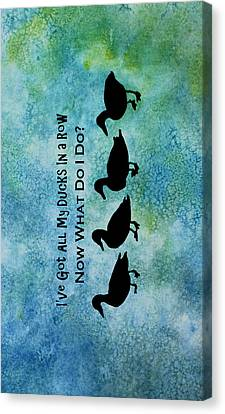 Ducks In A Row Canvas Print by Jenny Armitage