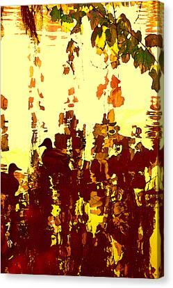 Ducks On Red Lake 2 Canvas Print by Amy Vangsgard