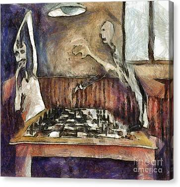Duel Of The Chess Players Canvas Print by Michal Boubin
