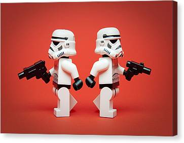 Dueling Troopers Canvas Print by Samuel Whitton