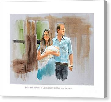 Duke And Duchess Of Cambridge With Their New Son Canvas Print by Roger Lighterness