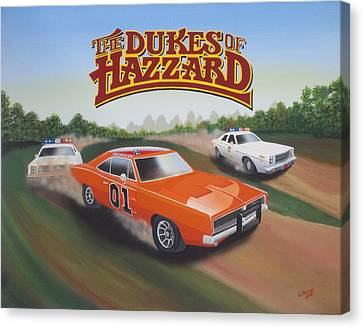 Dukes Of Hazzard Chase Canvas Print by Gregory Murray
