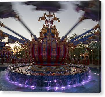 Dumbo The Flying Elephant Ride At Dusk Canvas Print by Adam Romanowicz