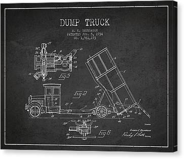 Dump Truck Patent Drawing From 1934 Canvas Print by Aged Pixel