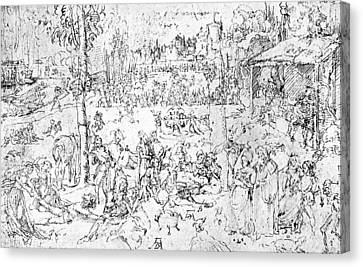 Durer Drawing Pleasures Of The World Canvas Print by Albrecht Durer