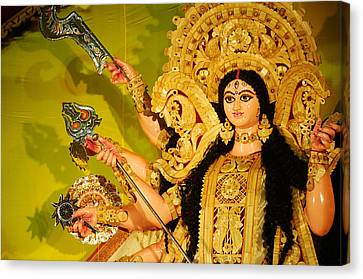 Durga Idol Canvas Print by Money Sharma