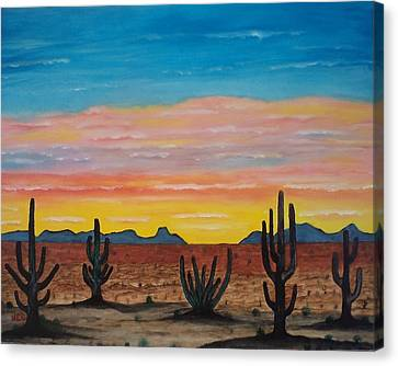 Dusk At Sonoran Desert Canvas Print by Jorge Cristopulos