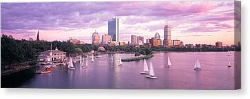 Dusk Boston Ma Canvas Print by Panoramic Images