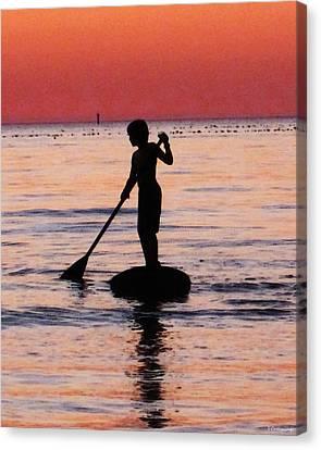 Dusk Float - Sunset Art Canvas Print by Sharon Cummings