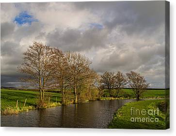 Dusk On Lancaster Canal Canvas Print by John Collier