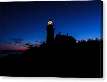 Dusk Silhouette At West Quoddy Head Lighthouse Canvas Print by Marty Saccone