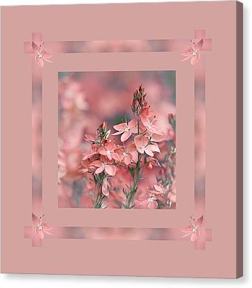 Dusky Pink Ribbons Canvas Print by Gill Billington