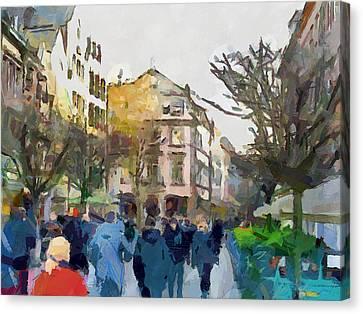 Dusseldorf Old Town Street 4 Canvas Print by Yury Malkov