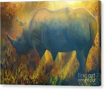 Dusty Rhino Canvas Print by Caroline Street