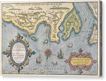Dutch Trade Map Of The Baltic Sea Hand-coloured Engraving Canvas Print by Dutch School