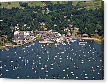 Duxbury Harbor And Downtown Duxbury Canvas Print by Dave Cleaveland