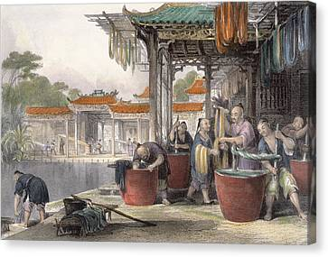 Dyeing And Winding Silk, From China Canvas Print by Thomas Allom