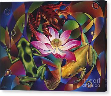 Dynamic Frogs Canvas Print by Ricardo Chavez-Mendez
