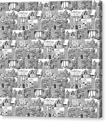 Dystopian Toile De Jouy Black White Canvas Print by Sharon Turner