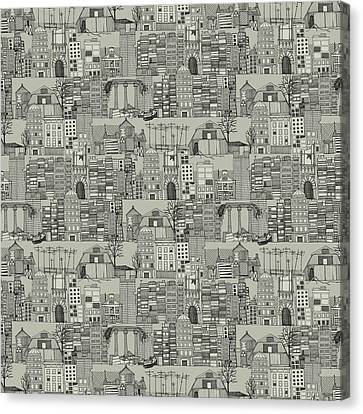 Dystopian Toile De Jouy Mono Canvas Print by Sharon Turner