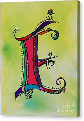 'e' Monogram Canvas Print by Joyce Auteri