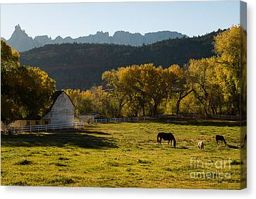 Eagle Crags Above Two Feathers Ranch Rockville Utah Canvas Print by Robert Ford