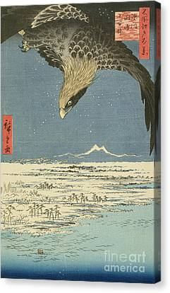 Eagle Over One Hundred Thousand Acre Plain At Susaki Canvas Print by Hiroshige