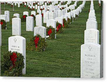 Eagle Point National Cemetery At Christmas Canvas Print by Mick Anderson