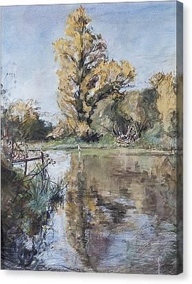 Early Autumn On The River Test Canvas Print by Caroline Hervey-Bathurst