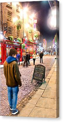 Early Bird Special In Dublin's Temple Bar Canvas Print by Mark E Tisdale
