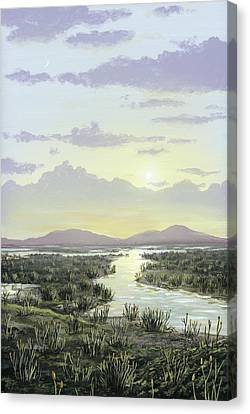 Early Devonian Landscape, Artwork Canvas Print by Science Photo Library