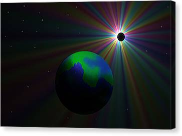 Early Earth Lunar Eclipse Canvas Print by Ricky Haug