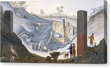 Early Excavations At Herculaneum Canvas Print by Pietro Fabris