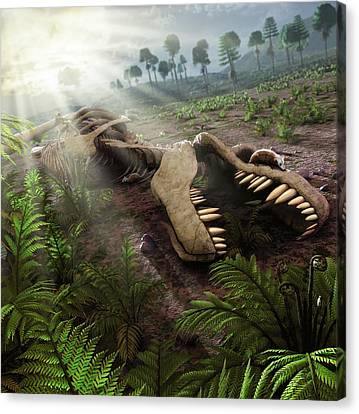 Early Mammals Hiding In T-rex Carcass Canvas Print by Mark Garlick