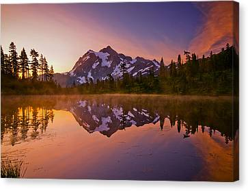 Early Morning At Picture Lake Canvas Print by Darren  White