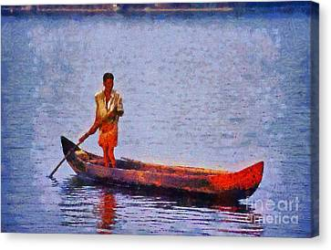 Early Morning Fishing In India Canvas Print by George Atsametakis