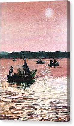 Early Morning Scallopers Canvas Print by Karol Wyckoff