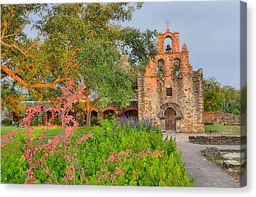 Early Morning Sun Caressing Mission Espada Canvas Print by Silvio Ligutti
