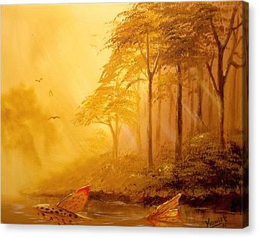 Early Morning Swim  Canvas Print by Yusniel Santos