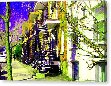 Early Spring Stroll City Streets With Spiral Staircases Art Of Montreal Street Scenes Carole Spandau Canvas Print by Carole Spandau