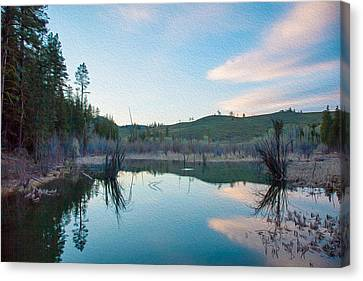 Early Sunset On A Beaver Pond  Canvas Print by Omaste Witkowski