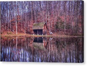 Early Winter At The Boat House Canvas Print by Daphne Sampson