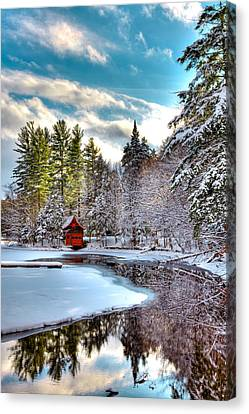Early Winter At The Red Boathouse Canvas Print by David Patterson