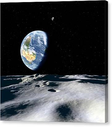 Earth And Asteroid Canvas Print by Detlev Van Ravenswaay