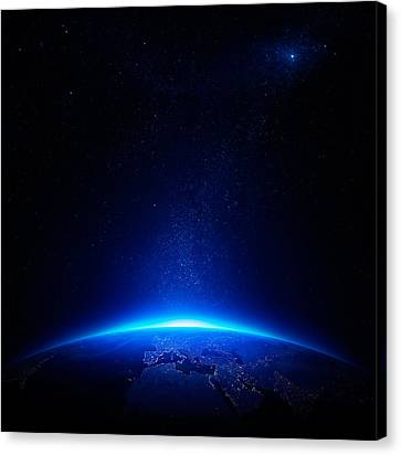 Earth At Night With City Lights Canvas Print by Johan Swanepoel